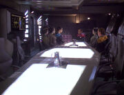 The science team meets in the wardroom - Destiny