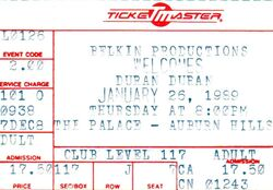 Duran Duran 1-26-89 ticket the palace auburn hills