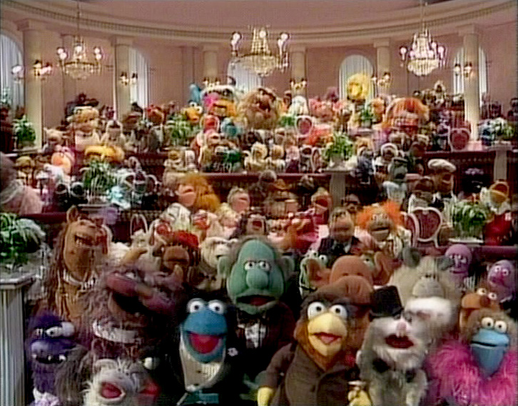 Ballroom full of muppets in the muppets a celebration of 30 years