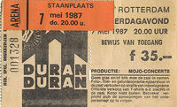 Ticket Duran-Duran-7th May 1987