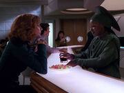 Beverly Crusher and Guinan (2366)
