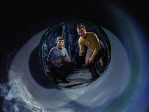 Spock and Kirk inspect Horta tunnel