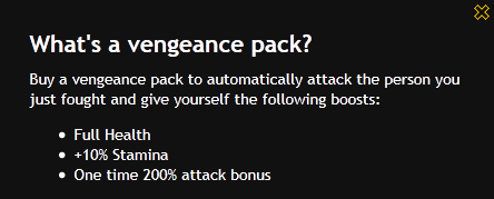 What is vengance pack