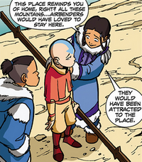 Katara talking to Aang about the Air Nomads