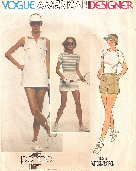 Vogue 1635 1970s tennis dress, t-shirt, shorts, and wrap skirt pattern