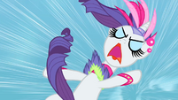 Rarity screaming as Wonderbolts hurtle towards her S1E16
