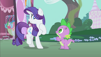 Rarity cringing from smelly Spike S1E25