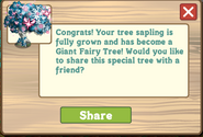 Giant Fairy Tree Growth Message