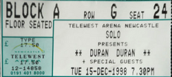 Ticket concert show duran duran tour 1998 15 december newcastle telewest arena