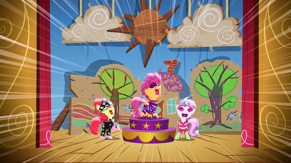 imagem mostrando Scootaloo, AppleBloom e Sweet Bell cantando fora do tom