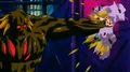 Bio Broly smashing Trunks into a wall