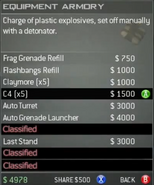 Survival Mode Screenshot Equipment Armory C4