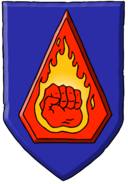 Flaming fist crest
