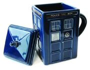 Figural tardis mug with lid