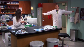 Sheldon getting ready to work in Amy&#39;s lab