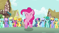Pinkie Pie leaping crowd S2E18