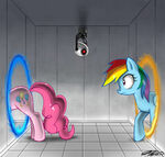 Rainbow Dash and Pinkie have fun with portals