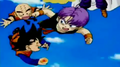 Goten and Trunks playing with Krillin