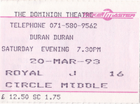 Dominion Theatre ticket duran duran wikipedia