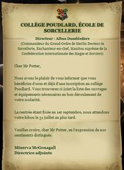 Lettre de Poudlard Harry Potter
