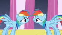 Rainbow Dash and clone mirroring each other S2E26