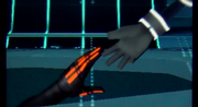 Sora reaches for Tron's Hand