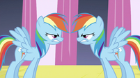 Rainbow Dash looking at changeling Rainbow S2E26