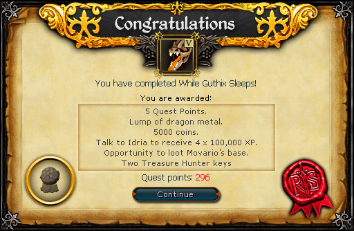 While Guthix Sleeps reward