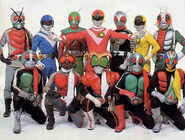 Sun Vulcan and nine Kamen Riders