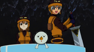 Haru, Elie, and plue escape with Giff