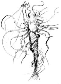 FFIII Cloud of Darkness Amano Sketch 1