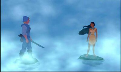 Pocahontas and John Smith meet