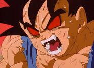 Goku beginng to go great ape face