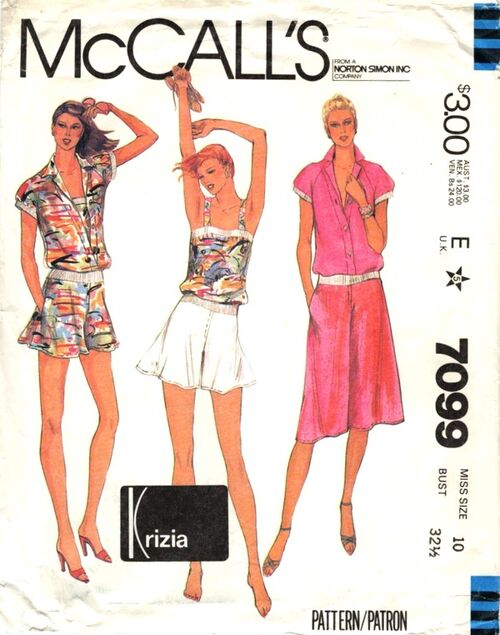 1980s Krizia bias shorts, culottes, and tops pattern - McCall's 7099