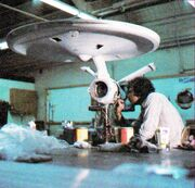 Constitution class USS Enterprise studio model under construction and detailed by Richard Thompson