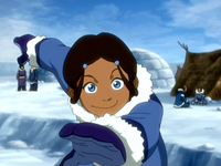 Young Katara throwing a snowball