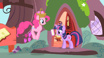 Twilight reading letter and Pinkie jumping S1E25