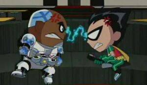 Cyborg (Earth-Teen Titans), Robin (Earth-Teen Titans) fighting