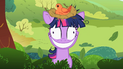 Twilight Sparkle with a bird&#39;s nest on her head S2E03