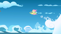 Filly Fluttershy launched into the air S1E23