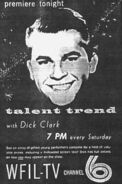 WFIL-TV's Talent Trend With Dick Clark Promo For Saturday Evening, October 12, 1957