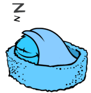 Blue puffle sleeping