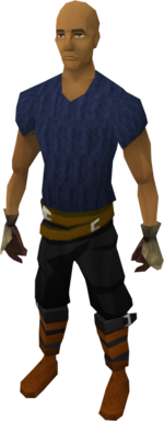 Bronze gauntlets equipped