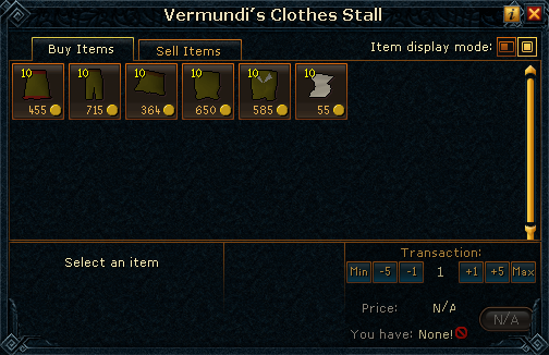 Vermundi's Clothes Stall stock