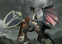 DA2 Mature Dragon in combat with Aveline