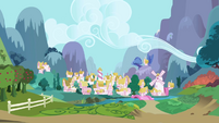 Ponyville as seen from Twilight and Spike's chariot S1E01