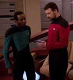 Riker giving orders, 2370