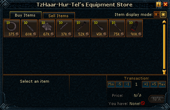 TzHaar-Hur-Tel's Equipment Store stock