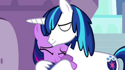 Filly Twilight and Shining hug S2E25