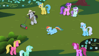 Ponies look at Rainbow Dash S2E08